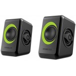 SONIC GEARS USB POWERED QUAD BASS SPEAKERS 2,0 BLACK LIME GREEN - (8886411908010)